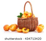 Fresh Apricot With Green Leaf...