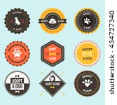 adopt a dog badges. | Shutterstock .eps vector #434727340