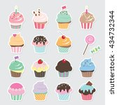 Cute Cupcakes Set. Birthday...
