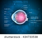 eye anatomy on a blue... | Shutterstock .eps vector #434733538