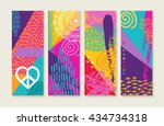 colorful boho pop art style... | Shutterstock .eps vector #434734318