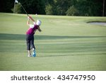 perfect golf swing by a 9 years ... | Shutterstock . vector #434747950