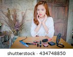 beautiful woman with a set of... | Shutterstock . vector #434748850
