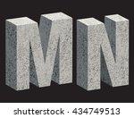 concrete 3d letters. vector... | Shutterstock .eps vector #434749513