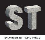 concrete 3d letters. vector... | Shutterstock .eps vector #434749519