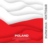 poland flag. origami paper cut... | Shutterstock .eps vector #434753668