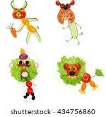 creative funny vegetable food... | Shutterstock . vector #434756860