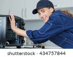 woman working on counter top... | Shutterstock . vector #434757844