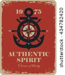 banner with an anchor and rose... | Shutterstock .eps vector #434782420