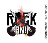 rock on  flyer concept ... | Shutterstock .eps vector #434784304
