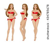 vector sexy brown haired girl... | Shutterstock .eps vector #434785678