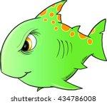 tough green shark vector... | Shutterstock .eps vector #434786008