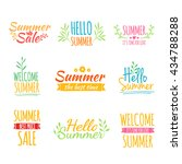 set of colored vintage retro... | Shutterstock . vector #434788288