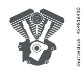 motorcycle engine v twin vector ... | Shutterstock .eps vector #434816410