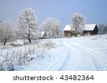 Picturesque, small village Pasterka ( Passendorf ) by winter. National Park, Stolowe Mountains in Poland - stock photo