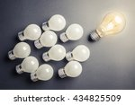 glowing light bulb as leader... | Shutterstock . vector #434825509