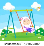 girl on the swing | Shutterstock .eps vector #434829880