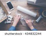 young woman wearing denim shirt ... | Shutterstock . vector #434832244