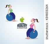 healthy lifestyle design.... | Shutterstock .eps vector #434833264