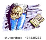 sketchy style drawn lazy red... | Shutterstock .eps vector #434835283