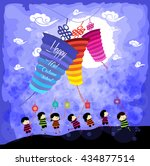mid autumn festival background... | Shutterstock .eps vector #434877514