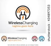 wireless charging logo template ... | Shutterstock .eps vector #434897353