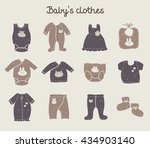 fashion set of  baby clothing... | Shutterstock .eps vector #434903140