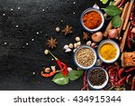 Spices With Ingredients On Dar...