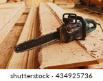 close up professional chainsaw... | Shutterstock . vector #434925736