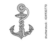 anchor and rope coloring book... | Shutterstock . vector #434930770