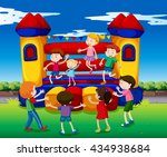 kids bouncing on the playhouse... | Shutterstock .eps vector #434938684