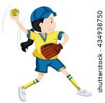 girl with softball glove and... | Shutterstock .eps vector #434938750