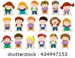 boys and girls kneeling down... | Shutterstock .eps vector #434947153