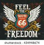 feel the freedom. route 66.... | Shutterstock .eps vector #434948674