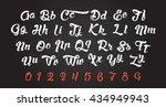 calligraphic alphabet. vector... | Shutterstock .eps vector #434949943