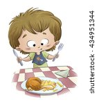 child eating chicken with... | Shutterstock . vector #434951344