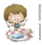 child eating a fish dish   Shutterstock . vector #434952058