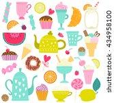 set with desserts  tea  ice... | Shutterstock .eps vector #434958100