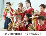 group of students playing in... | Shutterstock . vector #434963374