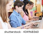 group of elementary school... | Shutterstock . vector #434968360