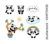 set of cartoon doodle panda... | Shutterstock .eps vector #434970430