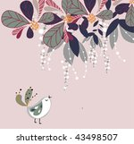 floral design with bird | Shutterstock .eps vector #43498507