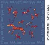 baikal petroglyphs illustration ...   Shutterstock .eps vector #434991328