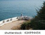 the algarve coast in portugal ... | Shutterstock . vector #434994454