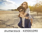 young beautiful loving couple... | Shutterstock . vector #435001090