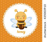 greeting card with honey bee....   Shutterstock .eps vector #435003910