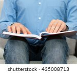 blind man reading braille book... | Shutterstock . vector #435008713