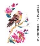 watercolor bird with flower... | Shutterstock . vector #435010588