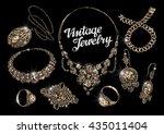 vintage jewelry. bijouterie.... | Shutterstock .eps vector #435011404