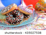 Donuts On A Plate With Party...
